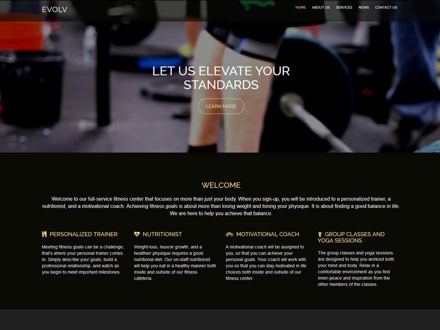 Boldgrid Fitness Theme Example 1